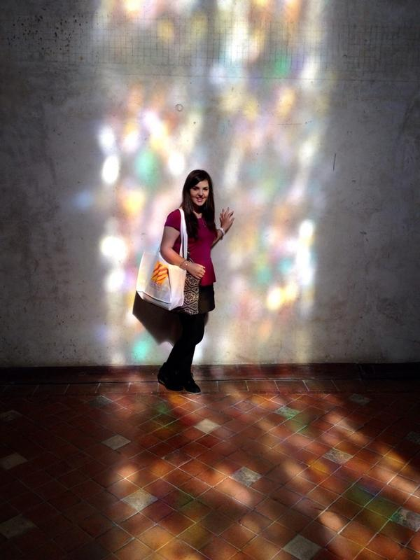 In the chapel, stained-glass window reflextions!