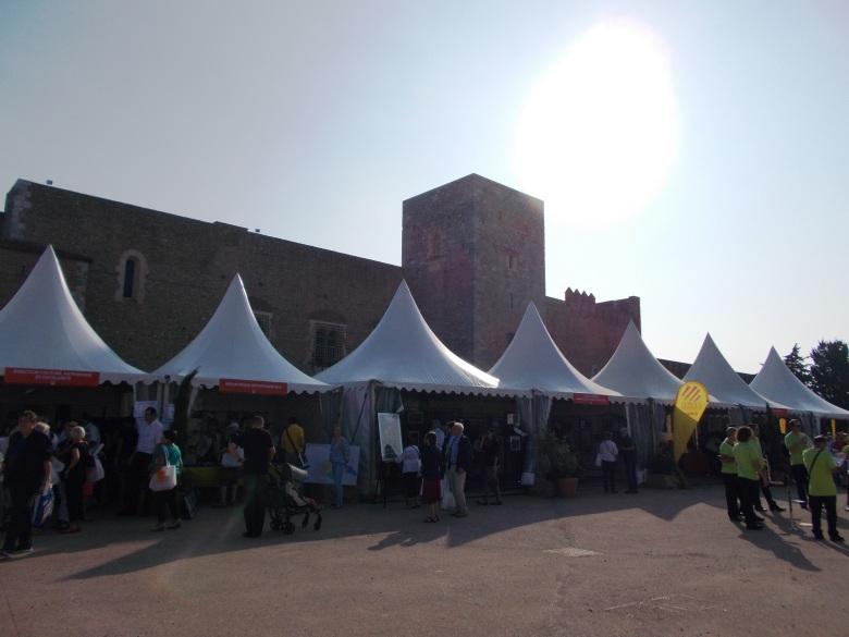 A few of the exhibit tents in the Palais des rois de Majorque gardens
