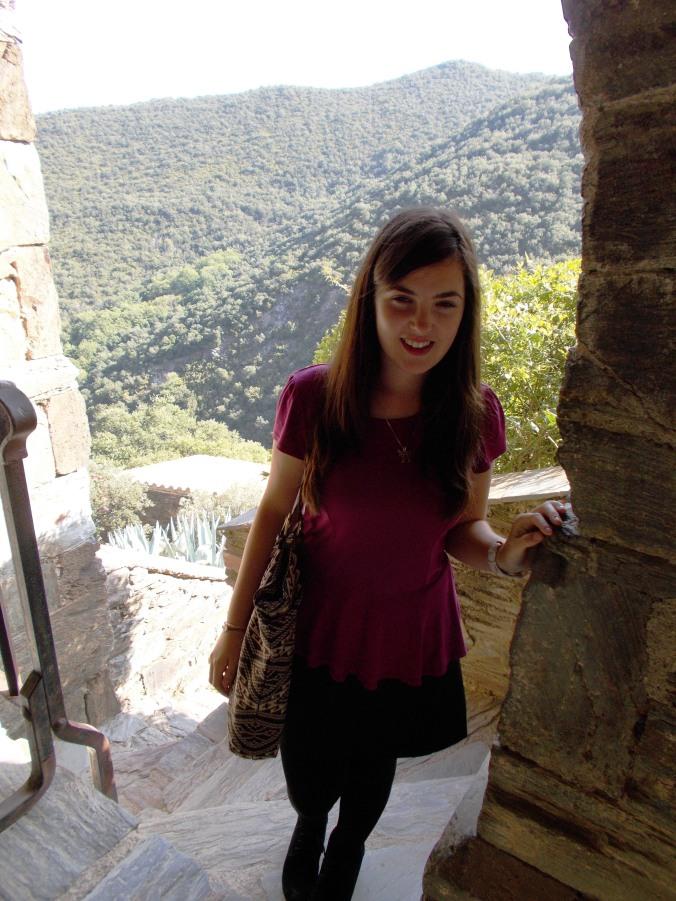 Me in the cloister at La Prieuré de Serrabonne