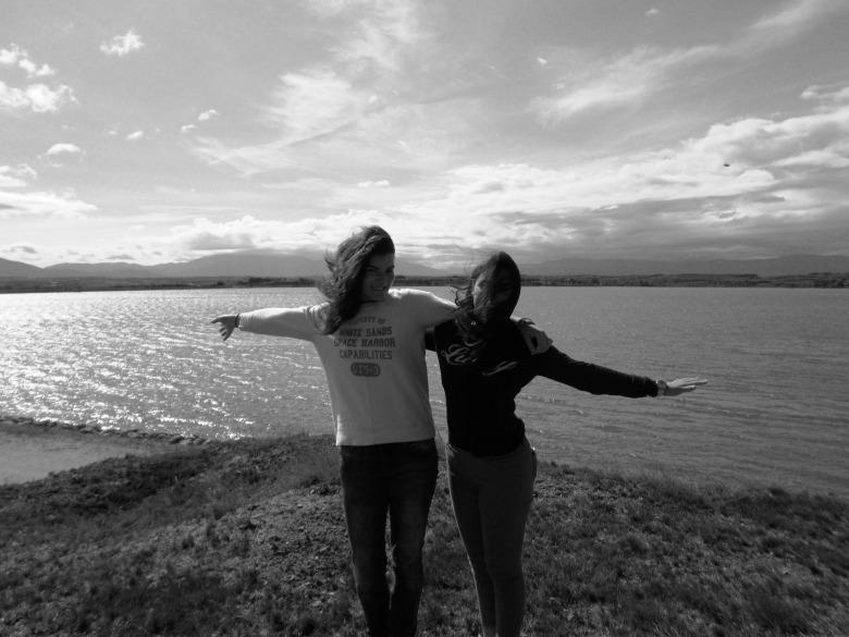 Kam and I at Le Lac de la Raho, it was a bit windy!!