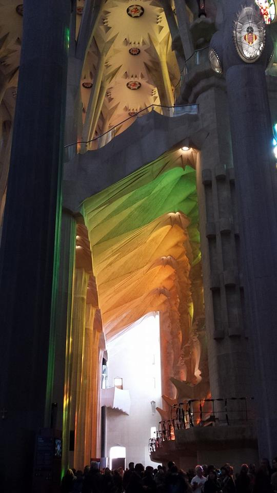 Light reflections from the stained-glass windows inside the Sagrada Família, Perfection!