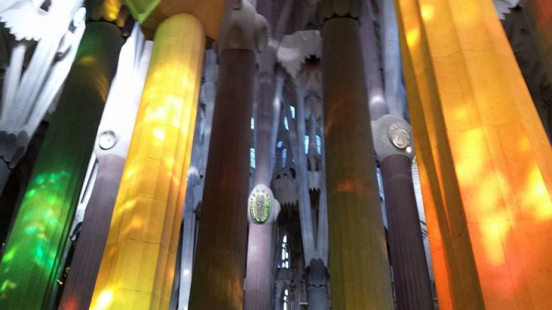 Light reflections from the stained-glass windows inside the Sagrada Família. Perfection!