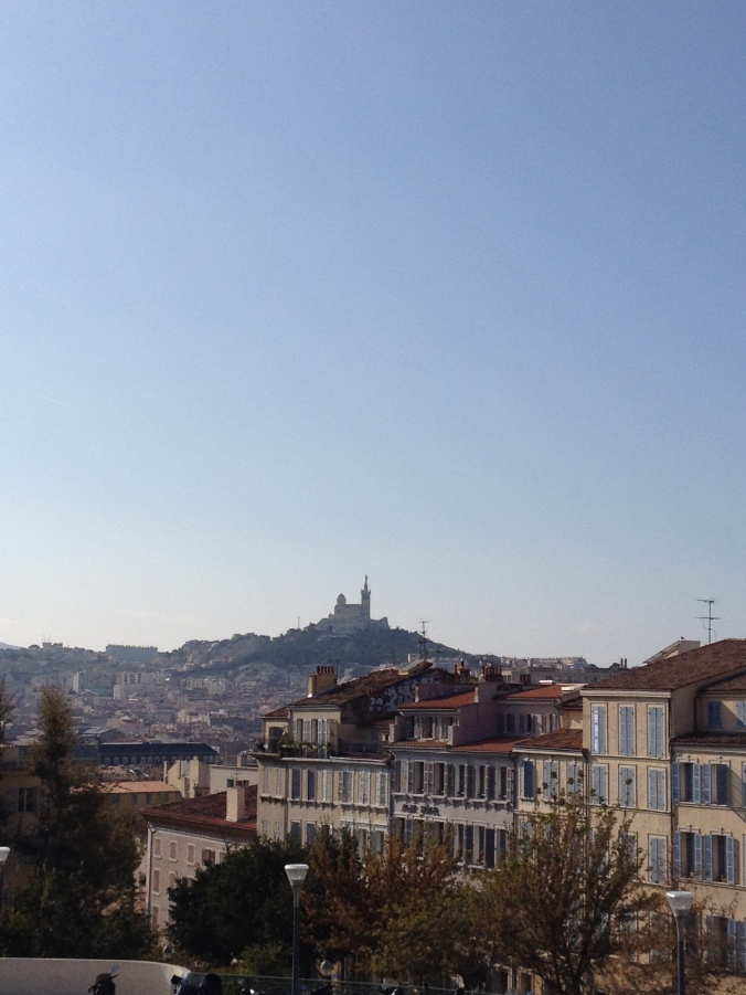 Vie of the Notre-Dame de la Garde from exiting the train station