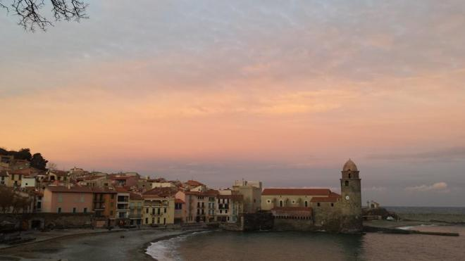 Collioure. Sunset in December