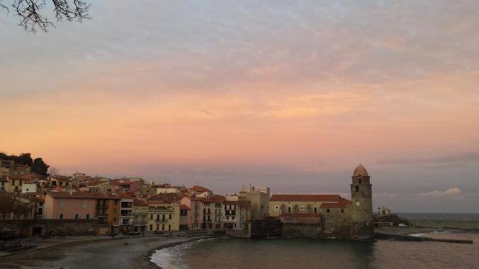 Collioure. Sunset in December