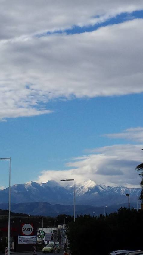 View of the Pyrenees from Perpignan.