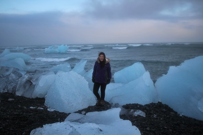 Me at Jokulsarlon beach