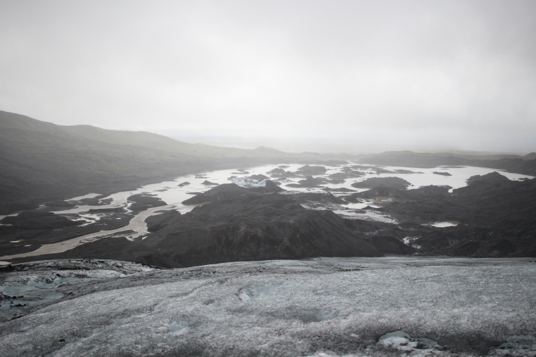 Looking back on where we walked from, view of the glacier's retreat and